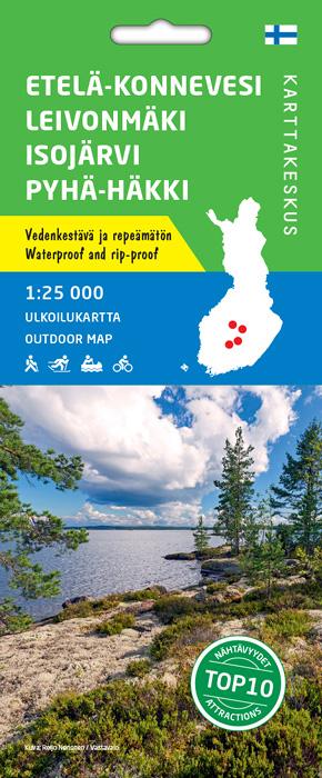 Etelä-Konnevesi Leivonmäki Isojärvi 1:25 000, ulkoiluk. 2019