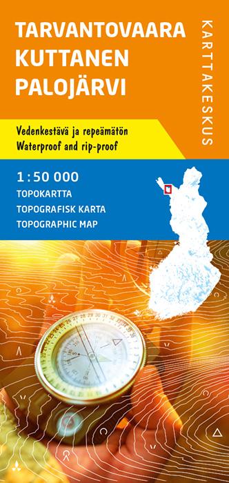 Tarvantovaara Kuttanen Palojärvi, Topokartta 1:50 000