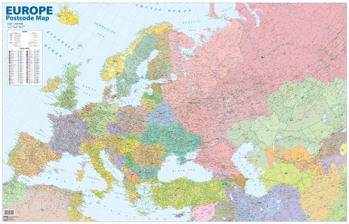 Eurooppa ja Venäjä postinumeroin seinäkartta