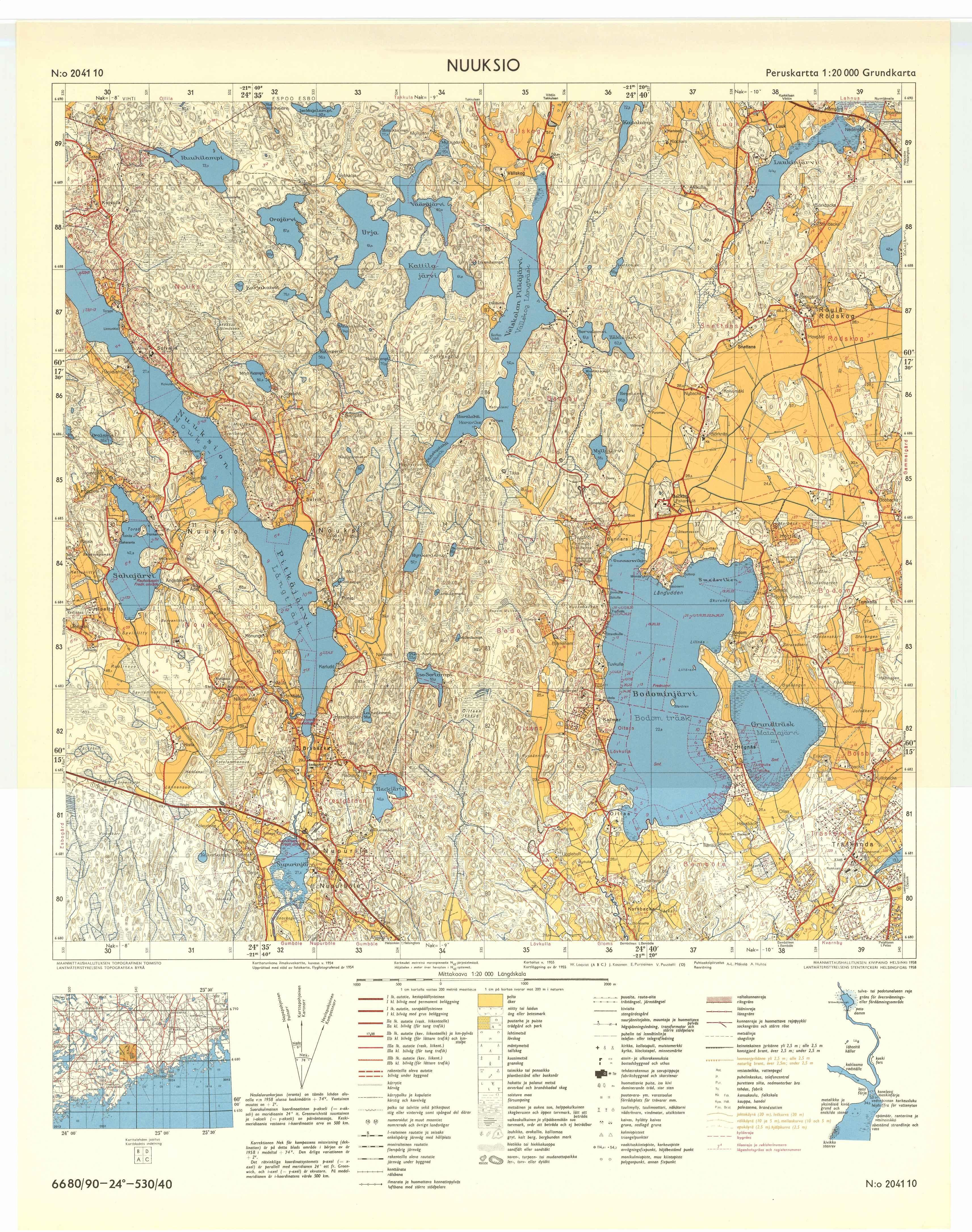 Kartta vuodelta 1958