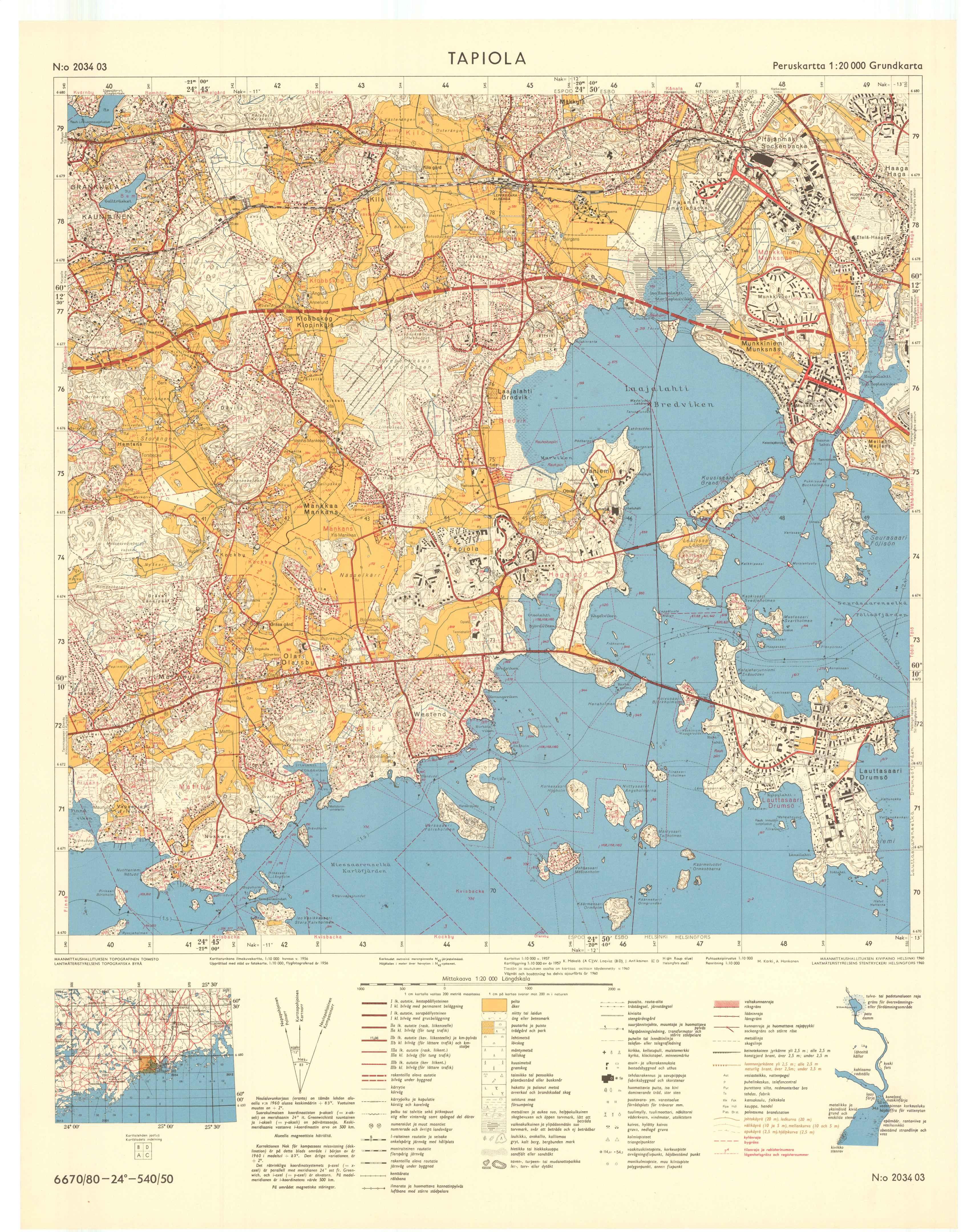 Kartta vuodelta 1960