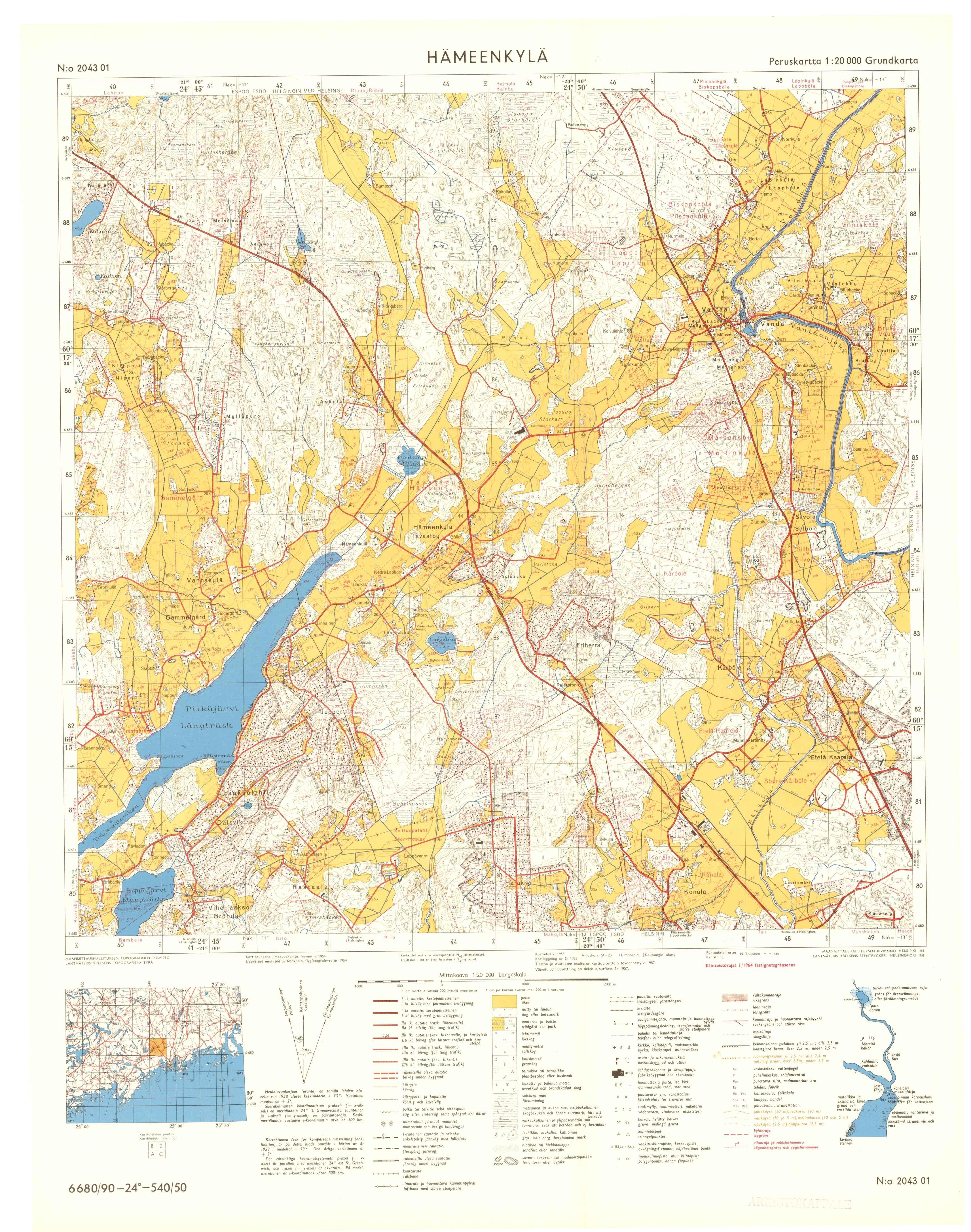 Kartta vuodelta 1964