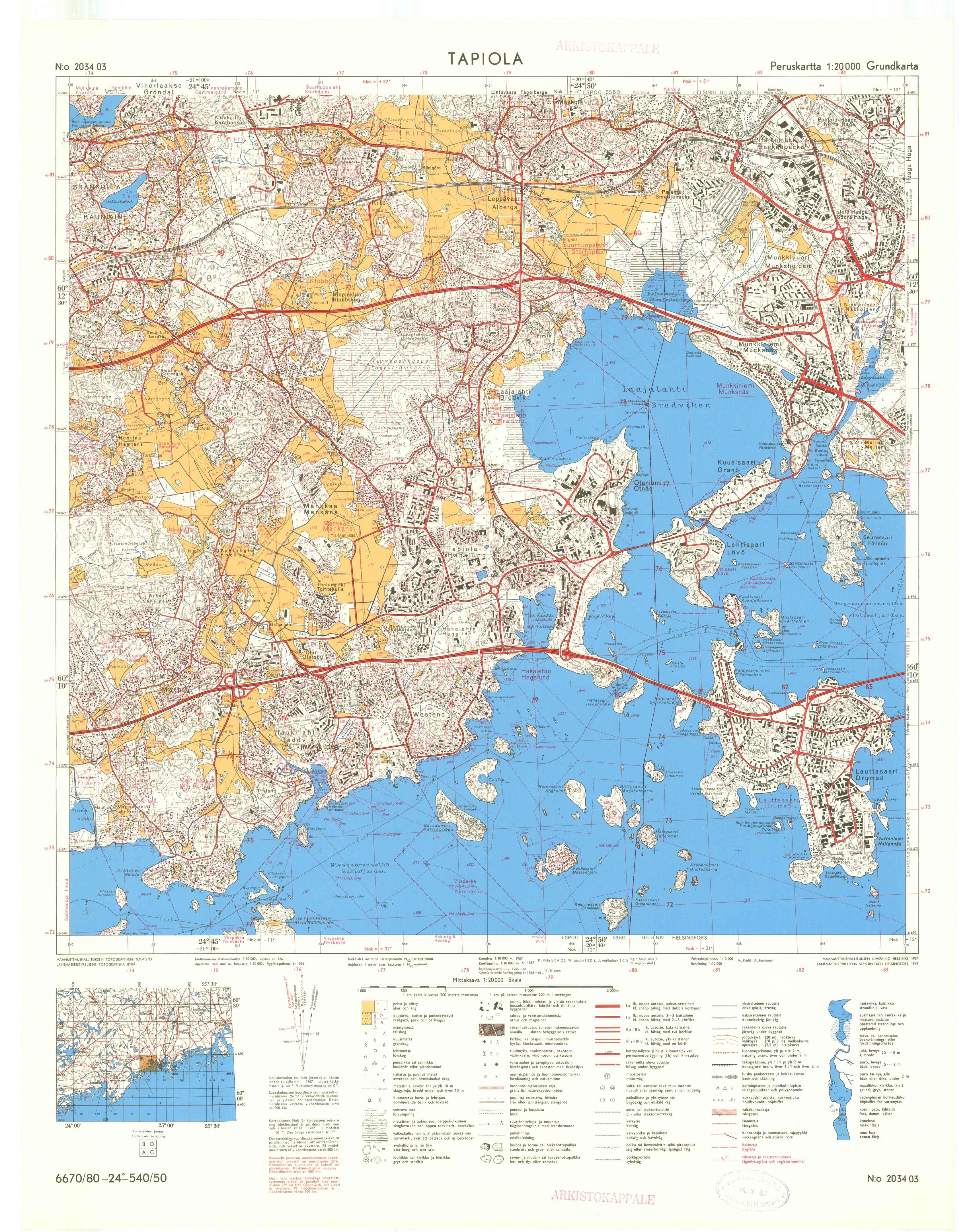 Kartta vuodelta 1967