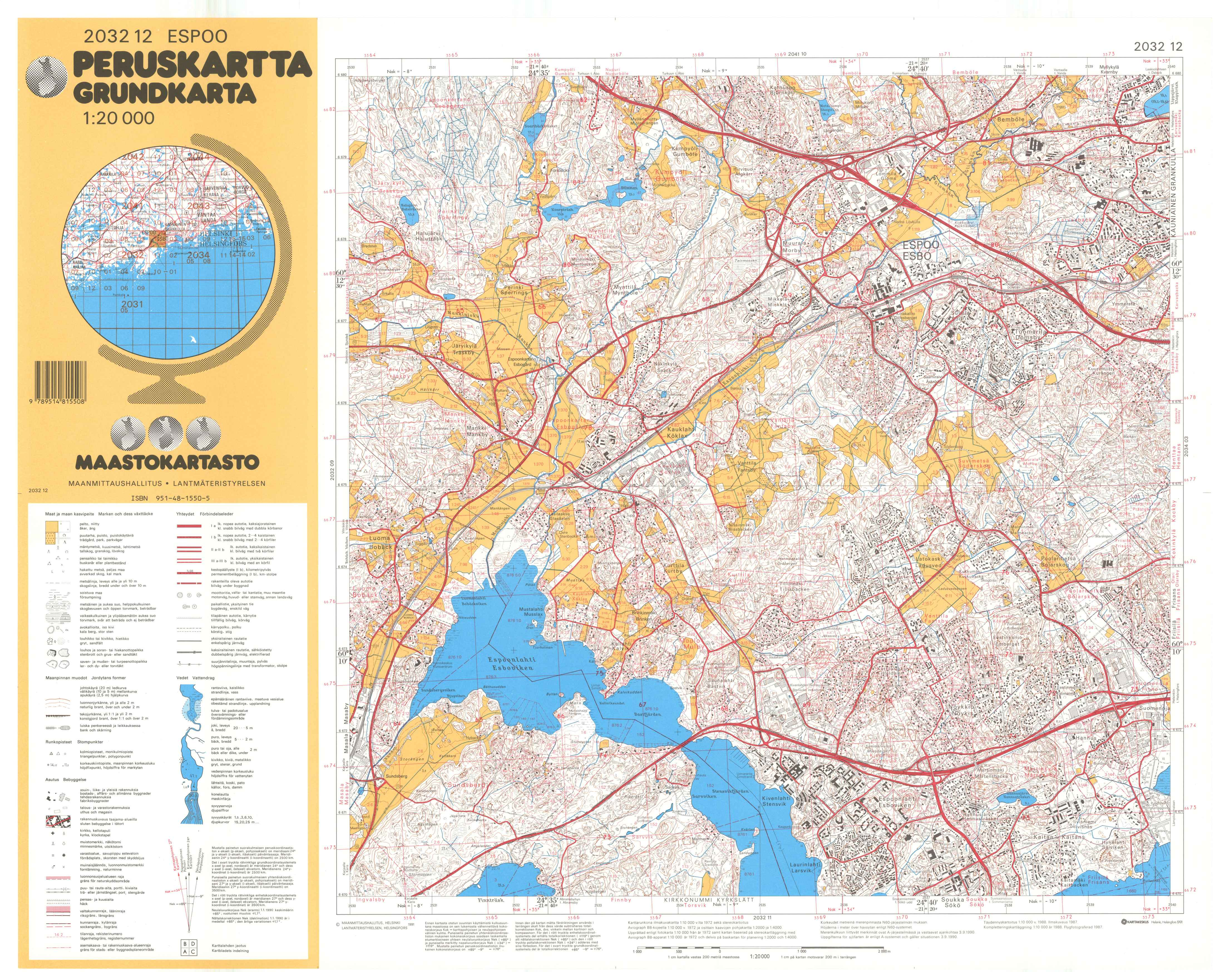 Kartta vuodelta 1991